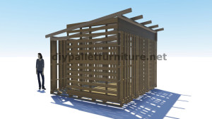 3D Plans for building a cabin or a store with pallets 4